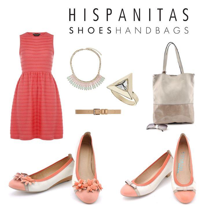 """Coral outfit - Hispanitas Shoes """"balerinas"""" white and aluminium Handbag"""