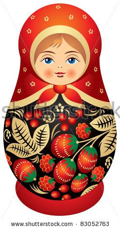 stock vector : Matryoshka doll in Khokhloma style, Russian wood painting handicraft, Russian nested doll,  Babushka doll, Russian Souvenir, present