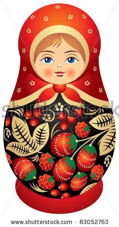 stock vector : Matryoshka doll in Khokhloma style, Russian wood painting handicraft, Russian nested doll, Babushka doll, Russian Souvenir, present