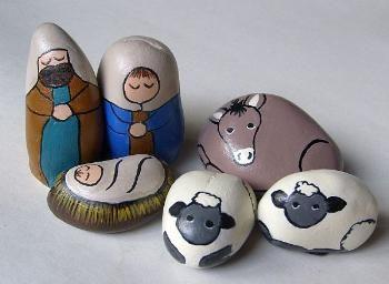 Small Teal-Royal Decorative Stone Nativity Set by Cindy Thomas