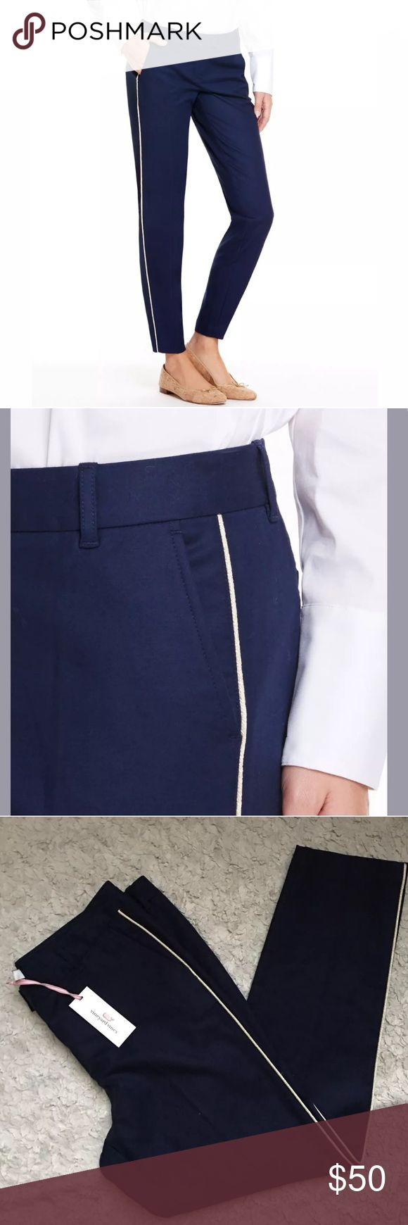 "New Vineyard Vines Ankle Pants Navy Blue Tuxedo 12 New women's Vineyard Vines Tuxedo Stripe ankle pants in Navy Blue. Size 12. So cute and perfect for work! Approximate measurements: Waist: 35"" Inseam: 28"" Rise: 10"" Leg opening: 12"" Vineyard Vines Pants Ankle & Cropped"