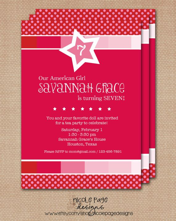 14 best American Girl Doll Birthday Party images – Doll Party Invitations