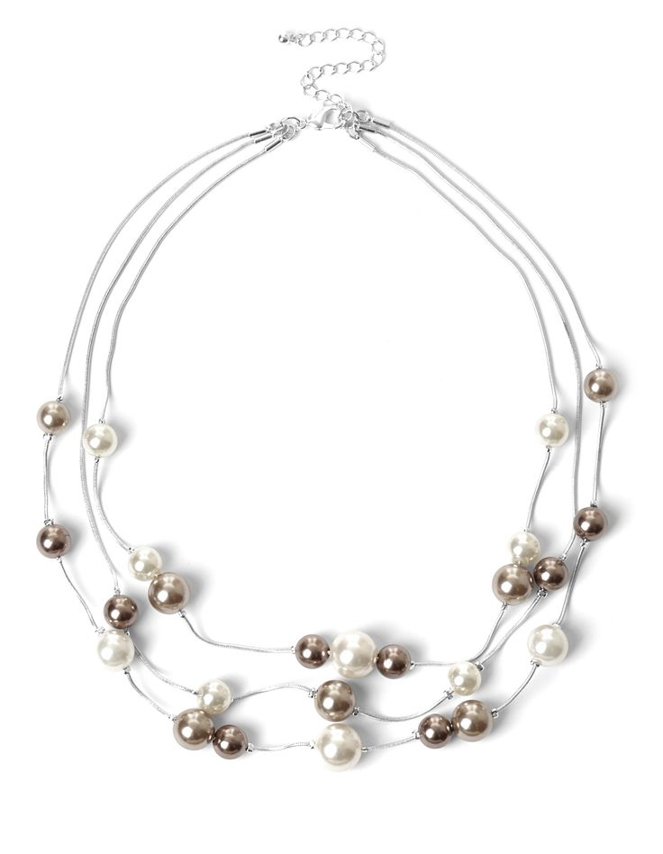 Mixed Pearl NecklaceMixed Pearl Necklace, Silver/Nude/Ivory