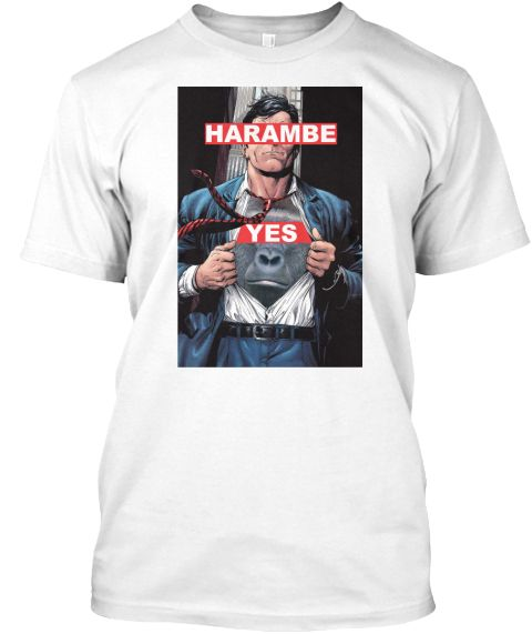 Harambe Yes White T-Shirt Front