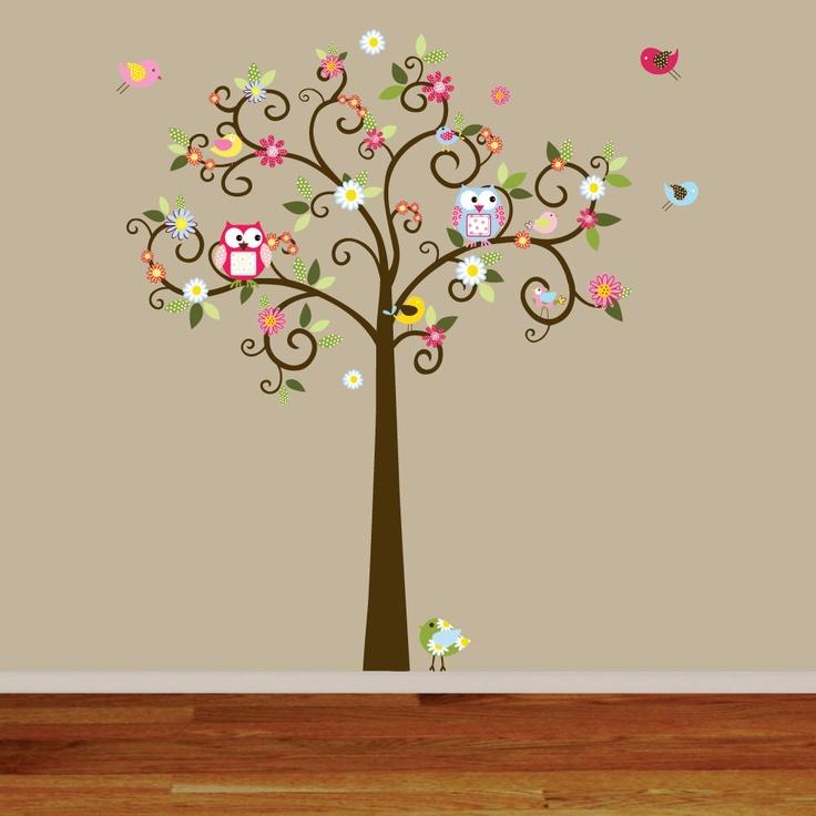 Swirl Daisy Flower Tree with Owls and Birds Baby Nursery Vinyl Wall Decal Swirl Tree.