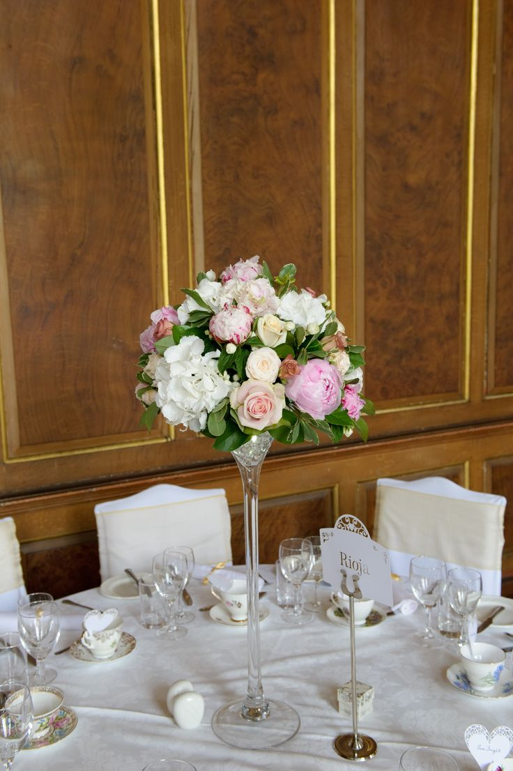 Peonies, roses and hydrangea arranged by Anne Goldschmidt; china from myvintagewedding.co.uk - my gorgeous Essex country manor wedding (champagne gold, ivory and dusky pink colour scheme)