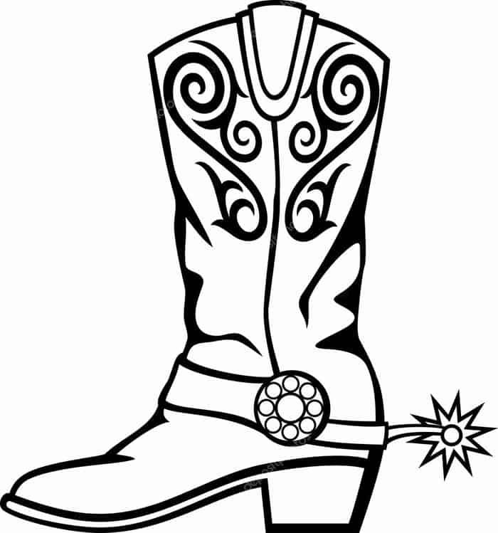 Cowboy Boot Coloring Pages Printable In 2020 Cowboy Boots Drawing Free Clip Art Western Clip Art