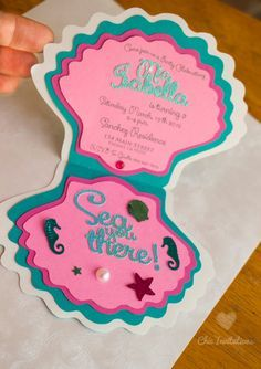 Sea you there!  Mermaid Invitations Shell Little Mermaid por ChicInvitationsByCA