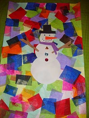 Snowman Collage Art Project~ Great holiday project for the kids in my art classes.