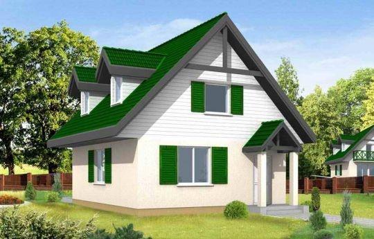 Projekt D03 to dom jednorodzinny z użytkowym poddaszem. Domek parterowy zaprojektowany z myślą o 3-4 osobowej rodzinie. Mimo niedużej powierzchni dom doskonale spełnia wymagania. Dzięki funkcjonalnemu rozplanowaniu jest bardzo wygodny. W projekcie D03 zaplanowano część dzienną na parterze. Na poddaszu mieszczą się trzy sypialnie.