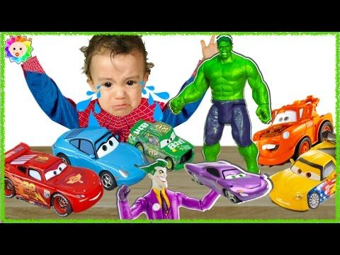 SpiderBaby crying & learn colors with Lightning McQueen vs Bad Hulk Colo...