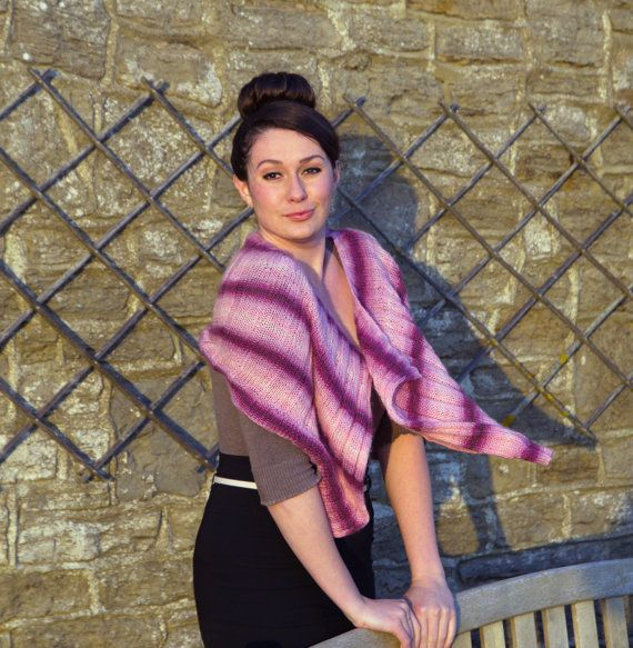 Pink multicolored angora mix knit shoulder neck waist warmer office shawl cowl scarf wrap caplet  for her women