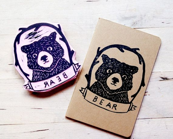 Bear Cub Animal Lined Notebook Moleskine Journal by subtleacts, $10.00