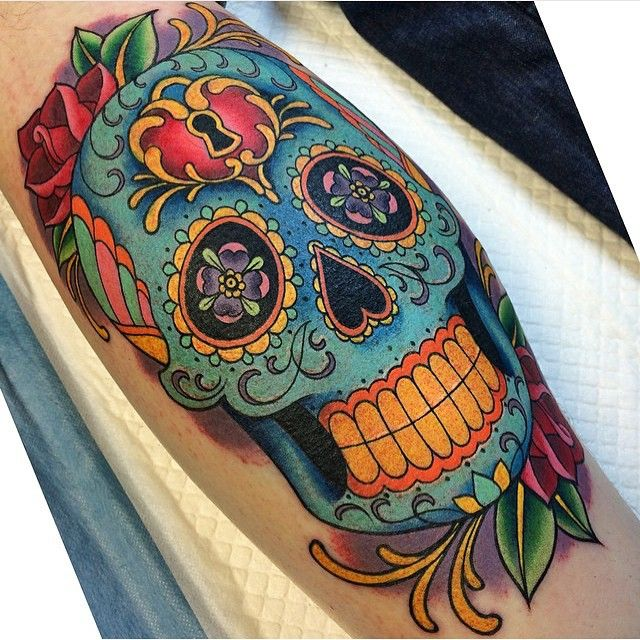 #tbt Sugar skull tattoo I made about 6 months ago at @gritnglory!