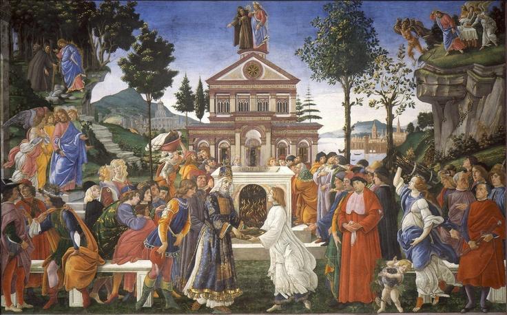 ❤ - SANDRO BOTTICELLI ( 1445 - 1510) - The Temptation of Christ. Fresco. Sistine Chapel.