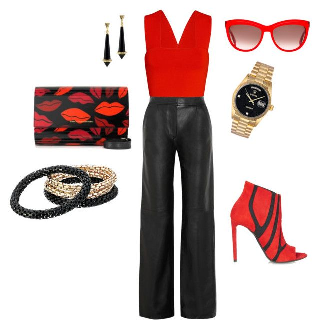 """""""Katy"""" by nzikop on Polyvore featuring ADAM, A.L.C., Diane Von Furstenberg, Balenciaga, House of Harlow 1960, Rolex, GUESS and Alexander McQueen"""