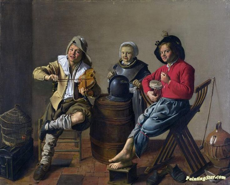 Two boys and a girl making music Artwork by Jan Miense Molenaer Hand-painted and Art Prints on canvas for sale,you can custom the size and frame
