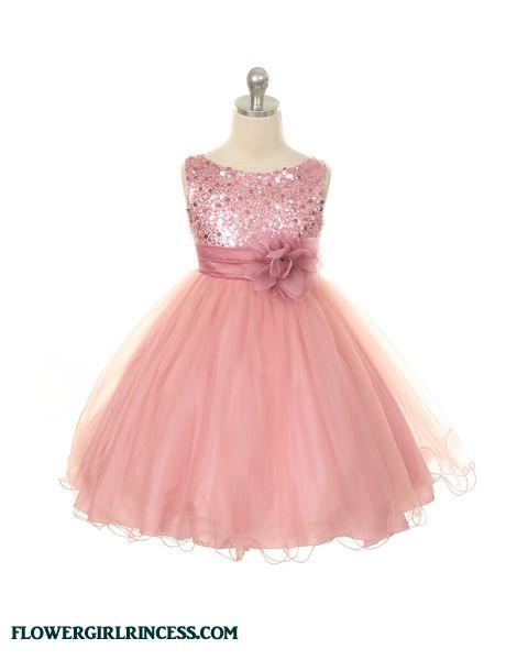 c0ae1f6b0ca Flower Girl Dresses - Pink Flower Girl Dresses - KD305 - Dusty Rose Pink  Sparkle Flower Girl Dress