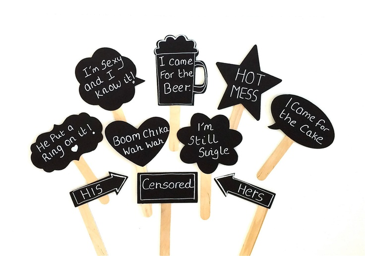 10 Chalkboard Photo Booth Props Speech Bubble Props Chalk board Photobooth Props Set of 10 Wedding Photo Props Decoration. $24.00, via Etsy.