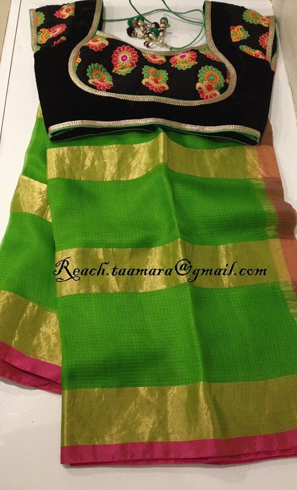 For yellow kota saree, with red blouse n 3d liquid liner embroidery in contrasting colours?