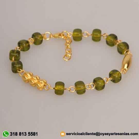 Pulsera cubo cristal checo verde oliva