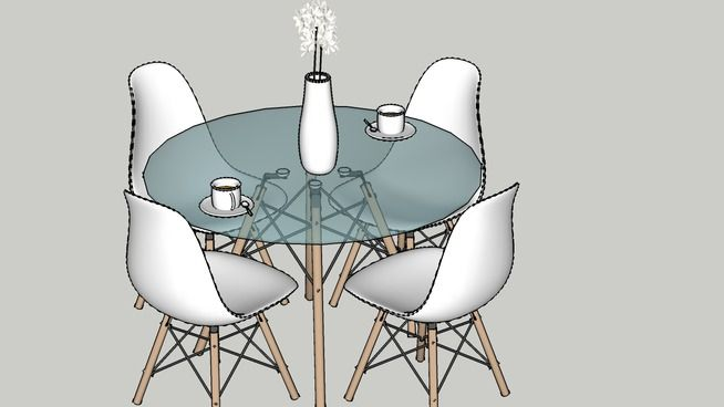 Eames Glass Table & Chairs - 3D Warehouse
