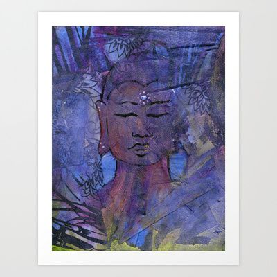 Zen master Buddha portrait in meditation with the energy of {WISDOM} - invoking All That Is, All That Ever Was and All That Shall Be. Let this energetic power piece help you summon the power of Wisdom! Made with ♡ LOVE ♡ and ✩ LIGHT ✩ Digital remix of a mixed media painting ~ acrylic & recycled materials {a green painting}