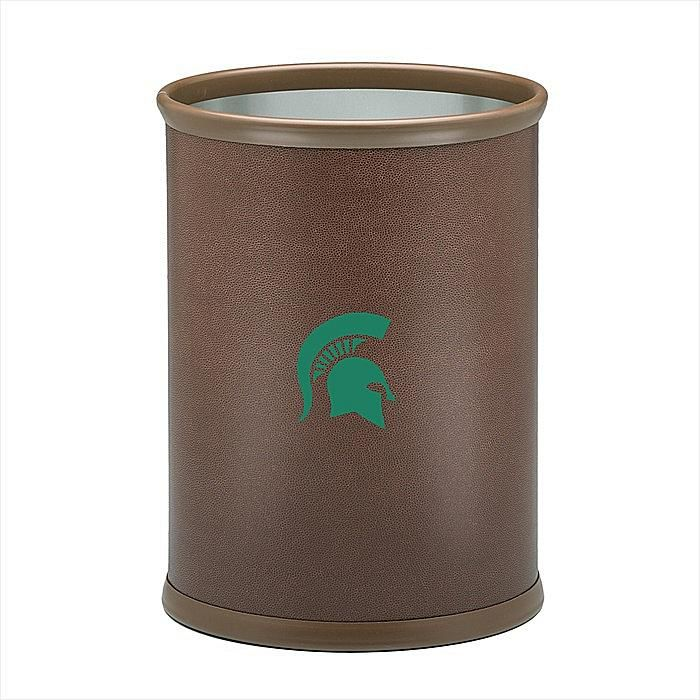 Kraftware Corp. Football-Textured Oval Wastebasket with Logo - Michigan State University