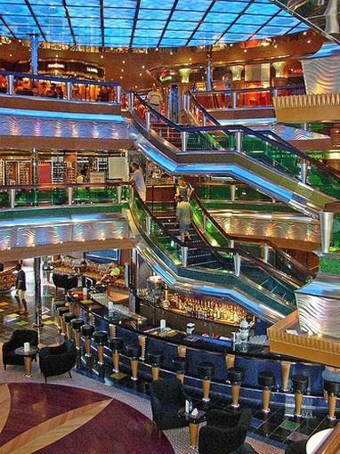 The Glory Lobby on board the Carnival Glory.