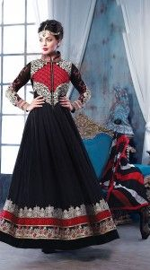 """<span style=""""color: black;"""">Give in to the exotic look like Mugdha Godse wearing this black georgette ankle length anarkali suitwhich is adorned with stone, resham embroidery work on the yoke, sleeves and lower part. It comes with matching bottom and dupatta.This Salwar Kameez can be stitched in the maximum bust size of 44 inches.</span>.."""
