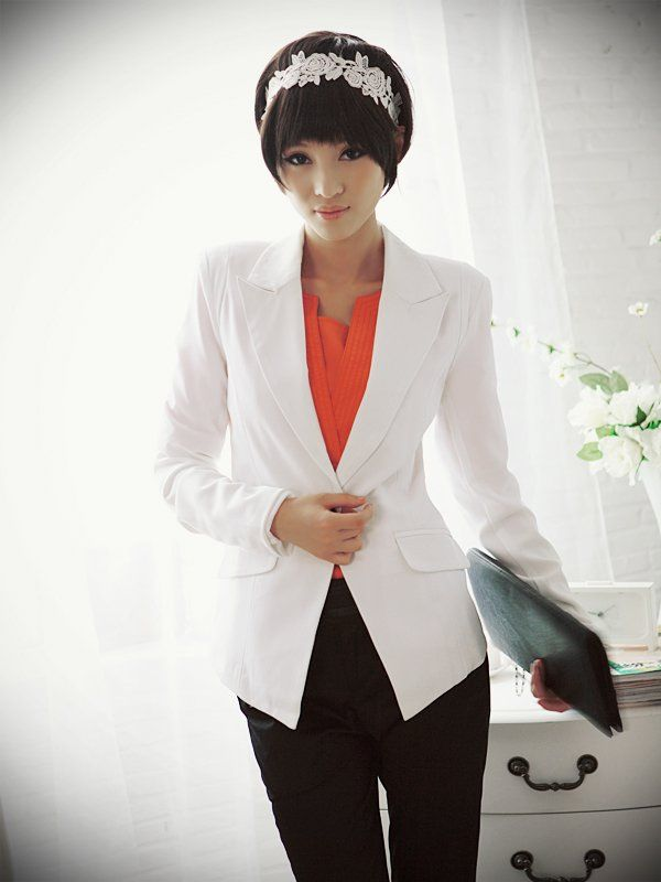 BRAND NEW excellent quality, plus size one button, OL style long sleeve ladies blazer, elegant jacket coat 24