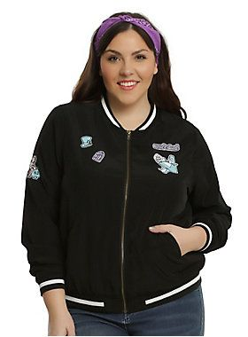 """Just because you tumbled down a rabbit hole doesn't mean you have to sacrifice your style. This black bomber jacket has an array of Alice themed patches, including The Mad Hatter's Hat, the Cheshire Cat and Alice herself.<div><ul><li style=""""list-style-position: inside !important; list-style-type: disc !important;"""">100% polyester</li><li style=""""list-style-position: inside !important; list-style-type: disc !important;"""">Wash cold; dry low</li><li style=""""list-style-position: inside !important…"""
