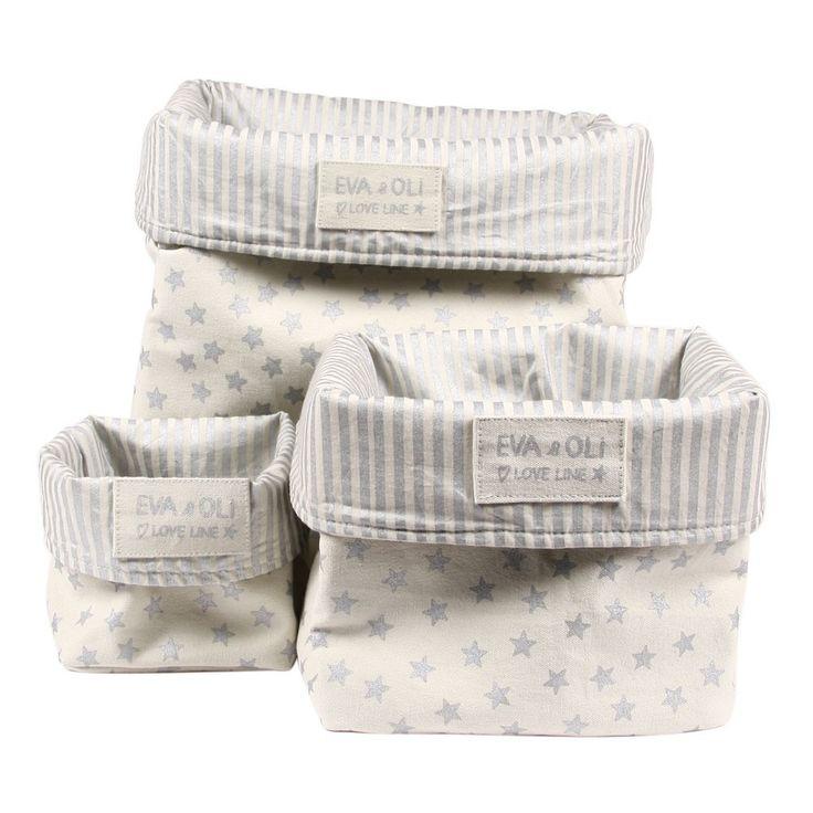 Cream Storage Bin - Silver Stars