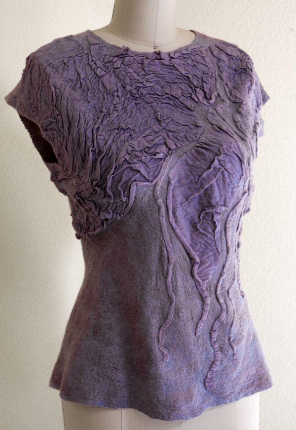 Nuno felting TUTORIAL light felted summer sleeveless top pattern construction…
