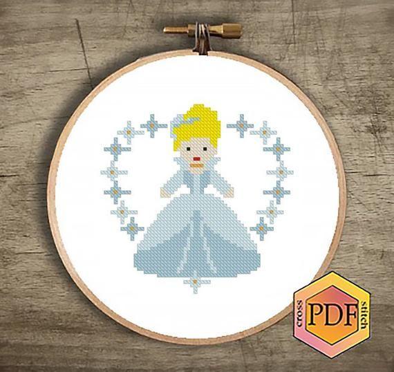 Cinderella Chart Counted Cross Stitch Pattern Needlework Xstitch