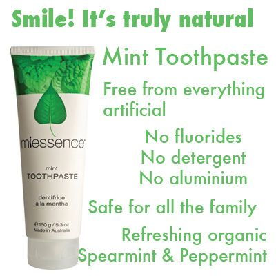 #Miessence #minttoothpaste, free of artificial colours, flavourings and without fluoride, aluminium or detergents.
