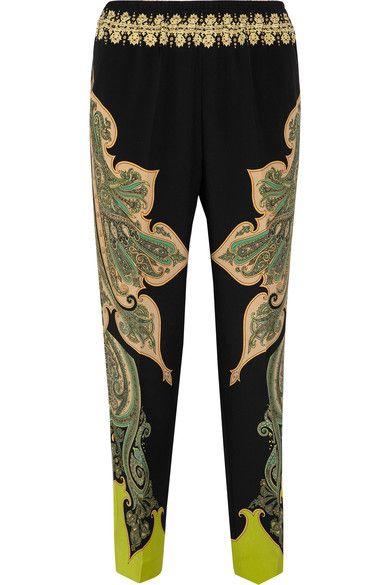 Etro - Paisley-print Silk Crepe De Chine Pants - Black - IT40