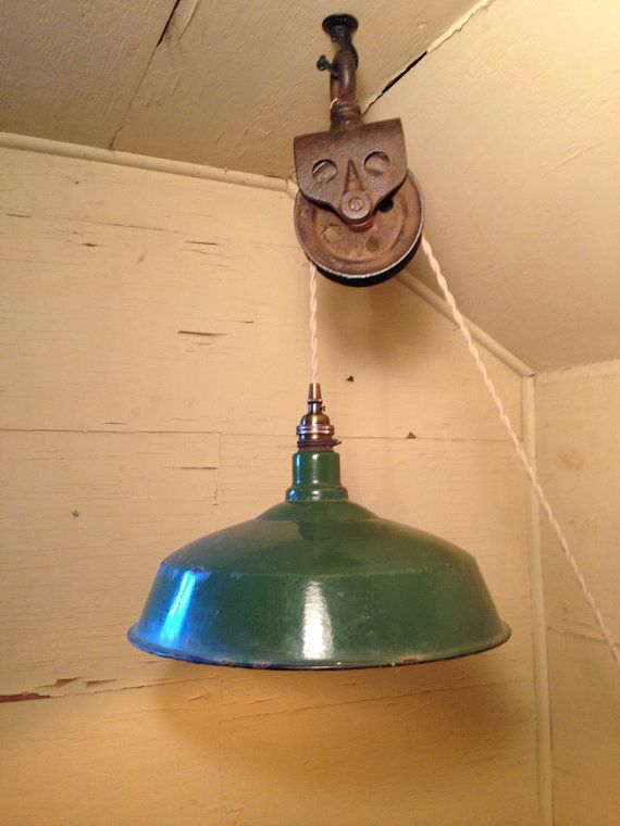 Upcycled Industrial Vintage Pulley Hanging Pendant Light With Green Porcelain Enameled