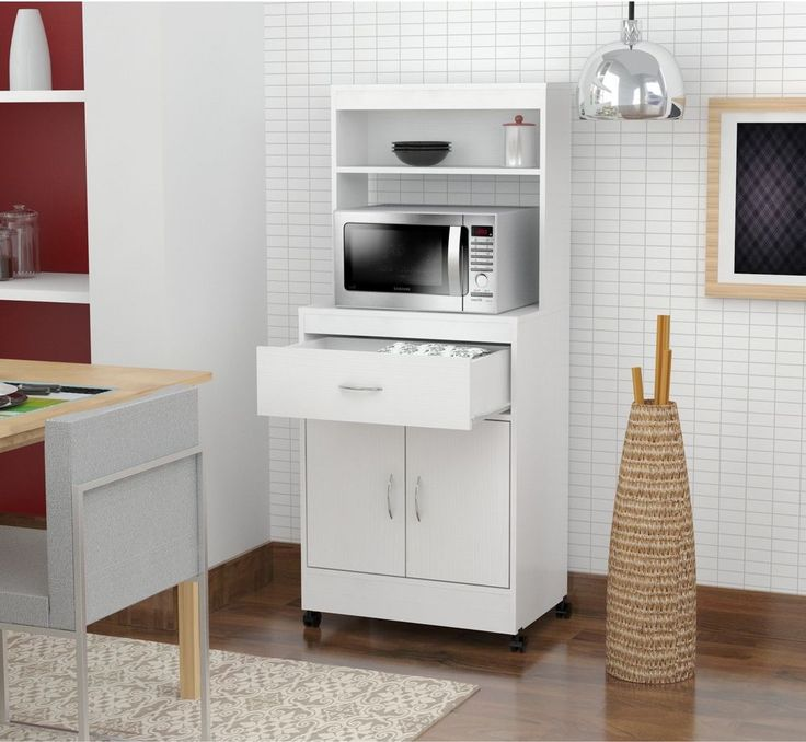 White Utility Kitchen Microwave Cart With Storage Drawers N Cabinet Shelf E