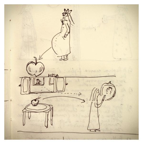085_La ragazza mela disegnata da Marco Belpoliti su @ moleskine