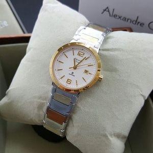 Jam Tangan Wanita Alexandre Christie AC 8313 Silver Gold Original