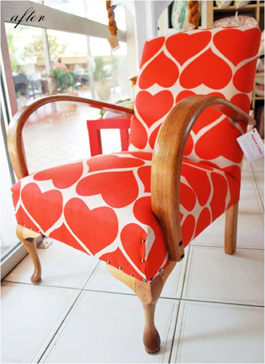 Heart covered chair. Note to self: re-cover the chair in the spare room.