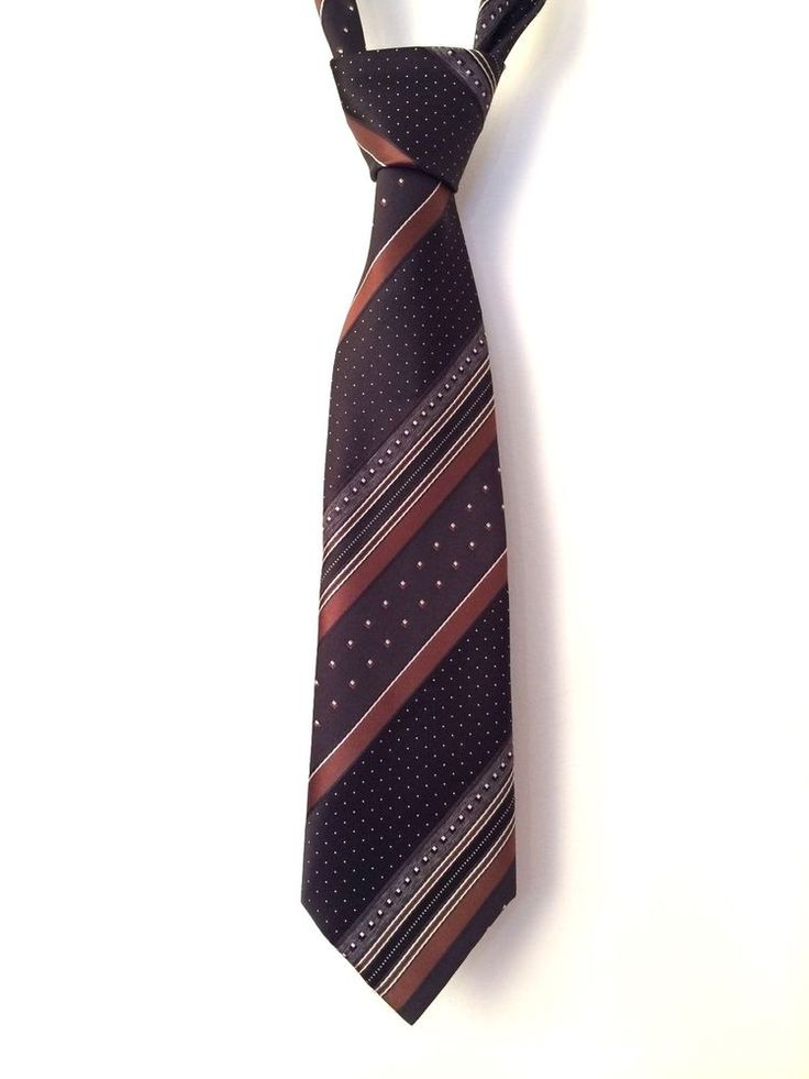 Vintage 70 s St Michael Brown Striped/ Dotty Tie - Made in UK