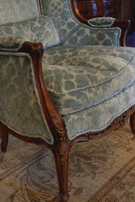 oh my love this cut velvet fabric on traditonal french bergere chair louisiana plantation traditional spaces new orleans design by todd