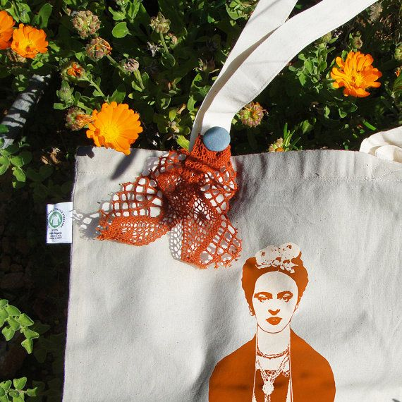Frida Kahlo tote bag Organic Fair Trade color: by RooftopCo  #EtsyGifts #fairtrade #organiccotton #etsy #etsygreekstreetteam #ethicalfashion #totebags #totes #organicbags