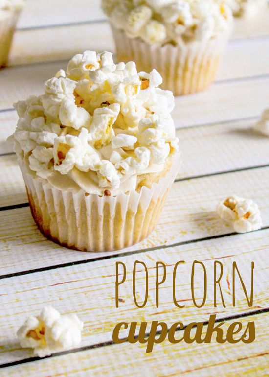 Popcorn Cupcakes with Caramel Buttercream. Haha that awesome creative decorate on cupcake!