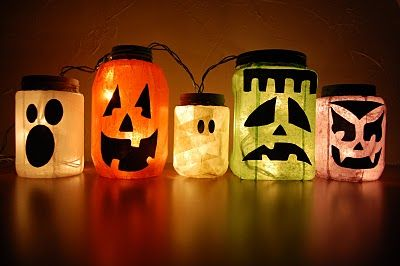 Glass jars and lights make cute decorations for Halloween