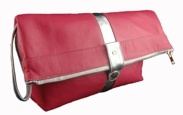 Hot pink leather 'Victoria' wash bag.