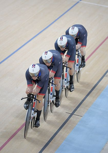 #RIO2016 Edward Clancy Steven Burke Owain Doull and Bradley Wiggins of Team Great Britain compete in the Men's Team Pursuit Final on Day 7 of the Rio 2016...