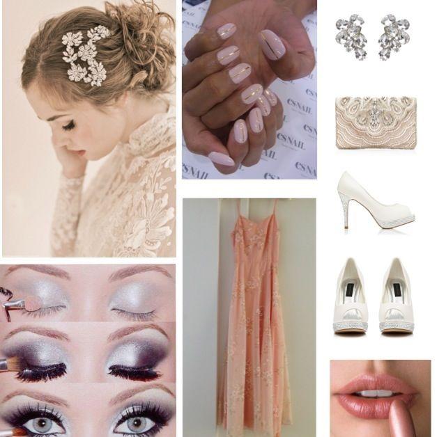 Nails pink long dress
